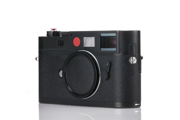 vintage rf camera front side isolated white.