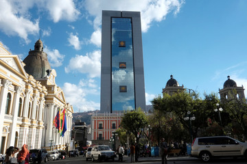 "A view of the new Bolivia's presidential palace named ""La Casa Grande del Pueblo"" in La Paz"