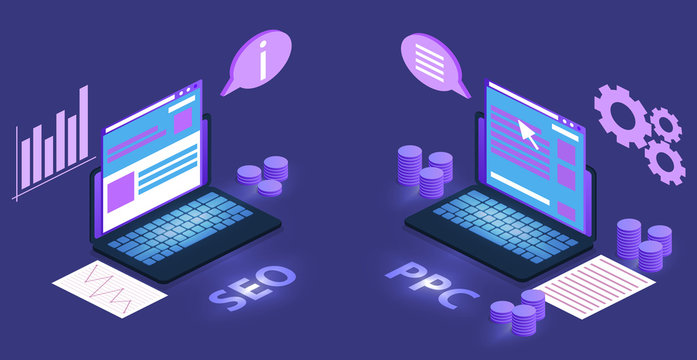 SEO and digital marketing vector illustration of search engine optimization and keyword PPC planning. Company and product web site advertising technology in internet on ultraviolet purple background