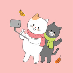 Cartoon cute couple cats vector.