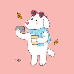 Cartoon cute dog selfie vector.