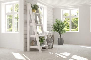 White empty room with home decor and summer landscape in window. Scandinavian interior design. 3D illustration