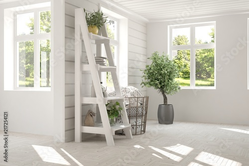White Empty Room With Home Decor And Summer Landscape In Window.  Scandinavian Interior Design.