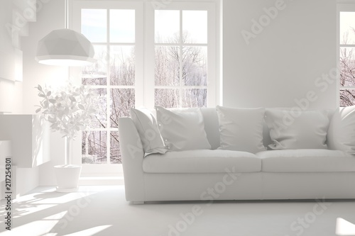Fantastic White Room With Sofa And Winter Landscape In Window Gmtry Best Dining Table And Chair Ideas Images Gmtryco