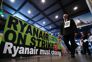 Belgian pilots of Ryanair take part in a protest during a wider European strike at the airline at Brussels South Charleroi Airport