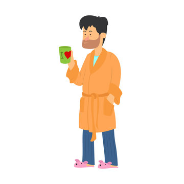 Tired man drinking coffee on white background