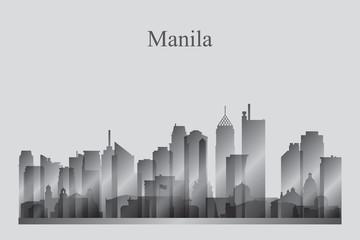 Manila city skyline silhouette in grayscale