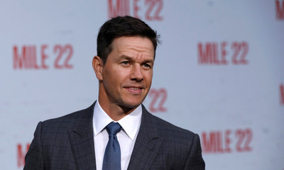 "Cast member Wahlberg poses at the premiere for ""Mile 22"" in Los Angeles"