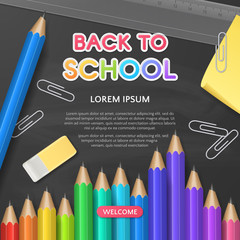 Vector template for design of flyer or banner with paper text Back to School and stationery (3D realistic  pencils, eraser, ruler, sticky note) on chalkboard background. File contains clipping mask
