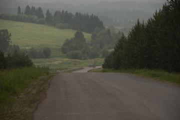 rural landscape - roads of middle Ural, Russia