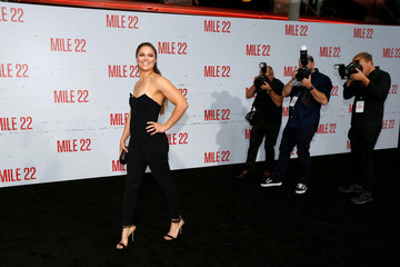 "Cast member Rousey poses at the premiere for ""Mile 22"" in Los Angeles"