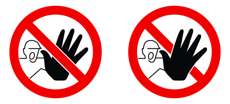No unauthorized access sign. Screaming man with black hand stopping in red crossed circle. Version with palm in front and back of cross.