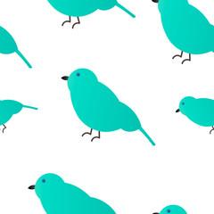 Seamless pattern. Emerald Sparrow White Background