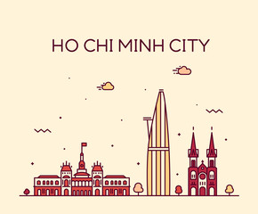 Fototapete - Ho Chi Minh City Saigon skyline Vietnam vector