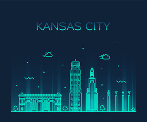 Kansas city skyline Missouri, USA vector line city