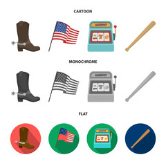 Cowboy boots, national flag, slot machine, baseball bat. USA country set collection icons in cartoon,flat,monochrome style vector symbol stock illustration web.