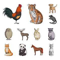 Realistic animals cartoon icons in set collection for design. Wild and domestic animals vector symbol stock web illustration.