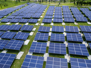 Top view of solar power panel plant