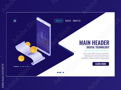 online banking icon isometric payment electron bill billing system