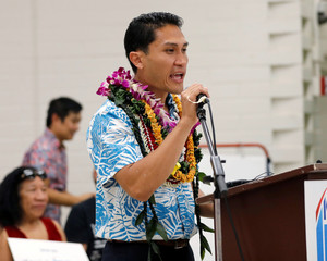 Hawaii Democrat Kaniela Ing speaks to supporters at a rally ahead of the Democratic Primary Election in Honolulu