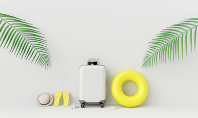 Wall Mural - White suitcase with beach accessories and coconut leaves on white background. summer travel concept .3d render