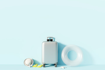 Wall Mural - Silver suitcase and beach accessories with sunlight on pastel blue background. summer travel concept. 3d render