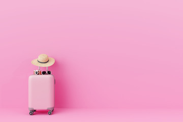 Wall Mural - Pink suitcase with traveler accessories on pastel pink background. travel concept.minimal style. 3d rendering