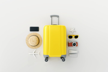 Wall Mural - Flat lay yellow suitcase with traveler accessories on white bright background. travel concept. 3d rendering