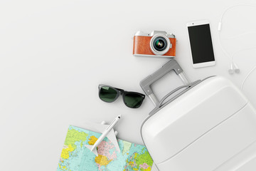 Wall Mural - Flat lay white suitcase with traveler accessories on white bright background. travel concept. 3d rendering