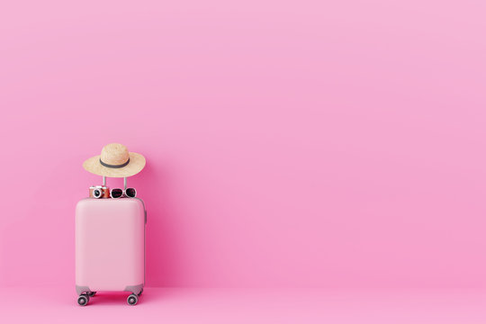 Pink suitcase with traveler accessories on pastel pink background. travel concept.minimal style. 3d rendering