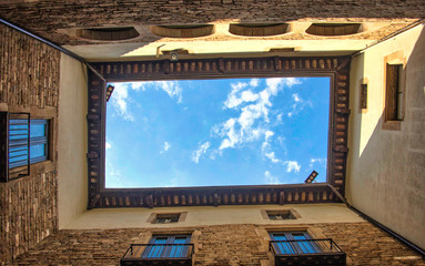 Barcelona. Sky in rectangle. Picasso museum
