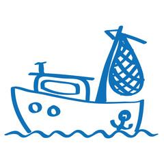 Handgezeichnetes Fischerboot in dunkelblau