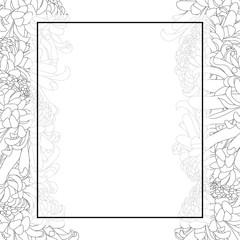 Chrysanthemum Outline Flower Banner Card Border