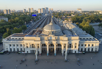 drone view to sun lights on the rail station in the morning in Odessa in Ukraine