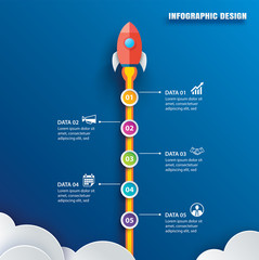 Startup infographic with 5 circle vertical data template. Vector illustration abstract rocket paper art on blue background. Can be used for planning, strategy, workflow layout, business step, banner