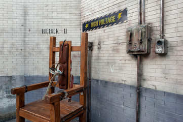 The electric chair apparatus in a Death row reenactment.