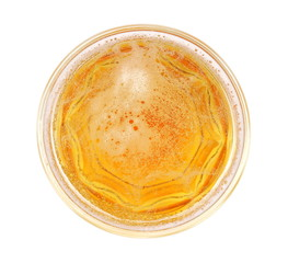 Glass of beer with bubble isolated on white, top view