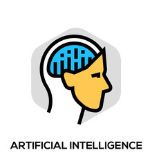 Artificial Intelligence Vector Flat Line Icon. Vector Concept For Web Graphics