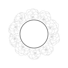 Begonia Flower Outline, Picotee Banner Wreath