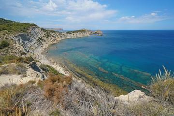 Spain rocky coast in the Costa Blanca near Javea, Mediterranean sea, Alicante, Valencia