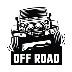 off road suv car monochrome template for labels, emblems, badges or logos