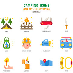Camping Icon Set, 12 icons for web design and vector illustration