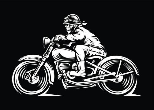 illustration skull motorcycle rider in a black background