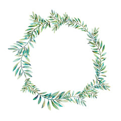 Watercolor greenery wreath. Hand drawn floral illustration isolated on white background. Natural graphic laurel frame. It  consist of green leaves and branches