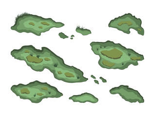 Keuken foto achterwand Olijf Set of swamps in isometric style. Isolated image of forest marsh. 3d landscape with cartoon fens. Vector illustration