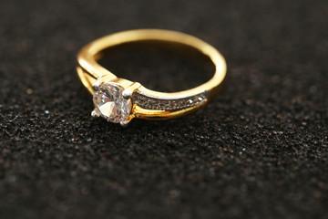 Diamond on golden ring