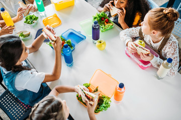 high angle view of group of schoolgirls taking lunch at school cafeteria