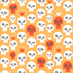 Doodle style evil skulls seamless repeat colorful pattern. Cute cartoon stylized sculls with sharp vampire teeth and shining crown. Halloween or Day of the Dead funny endless background or texture.
