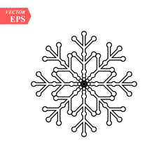 Snowflake icon. Flat vector illustration in black on white background. EPS 10