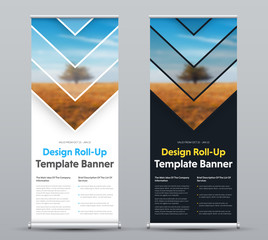 Vector design of roll-up banner with arrows and place for photo